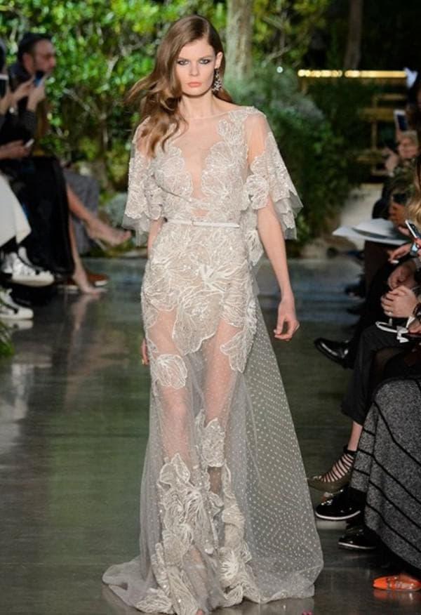 Свадебное платье полупрозрачное длинное
