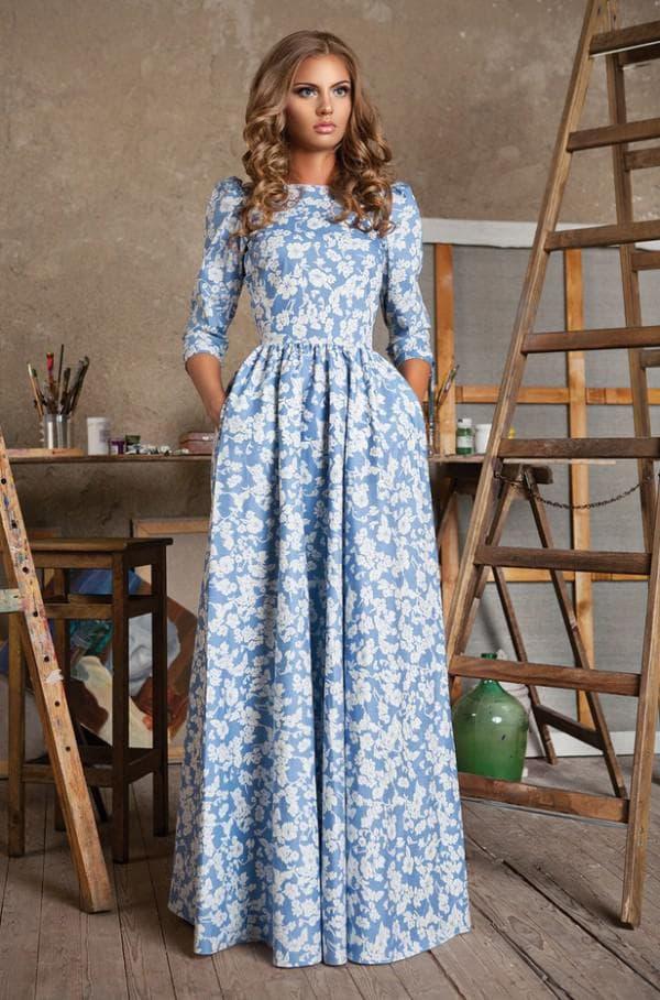 НЕжное штапельное платье в голубых тонах