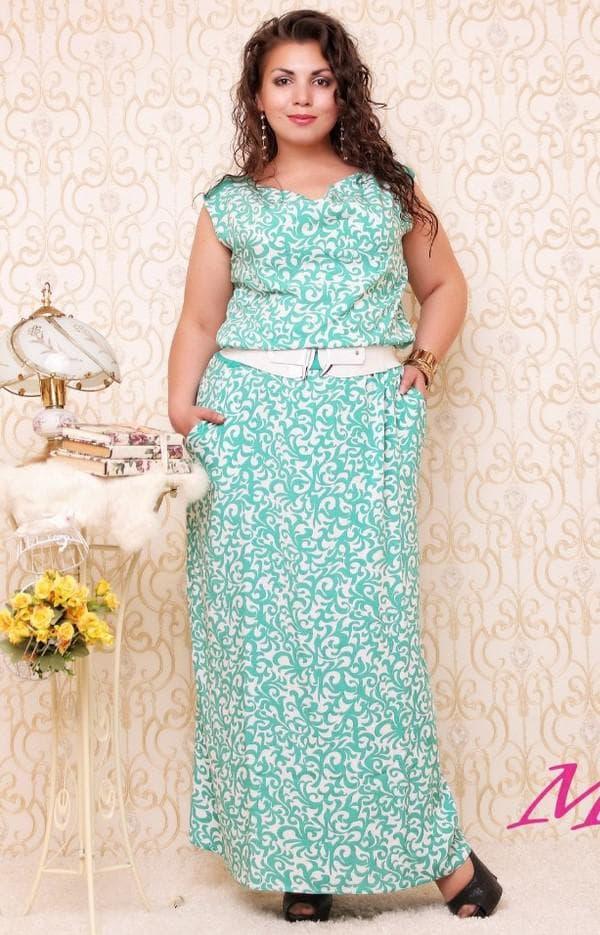 Длинное платье из штапеля для полных