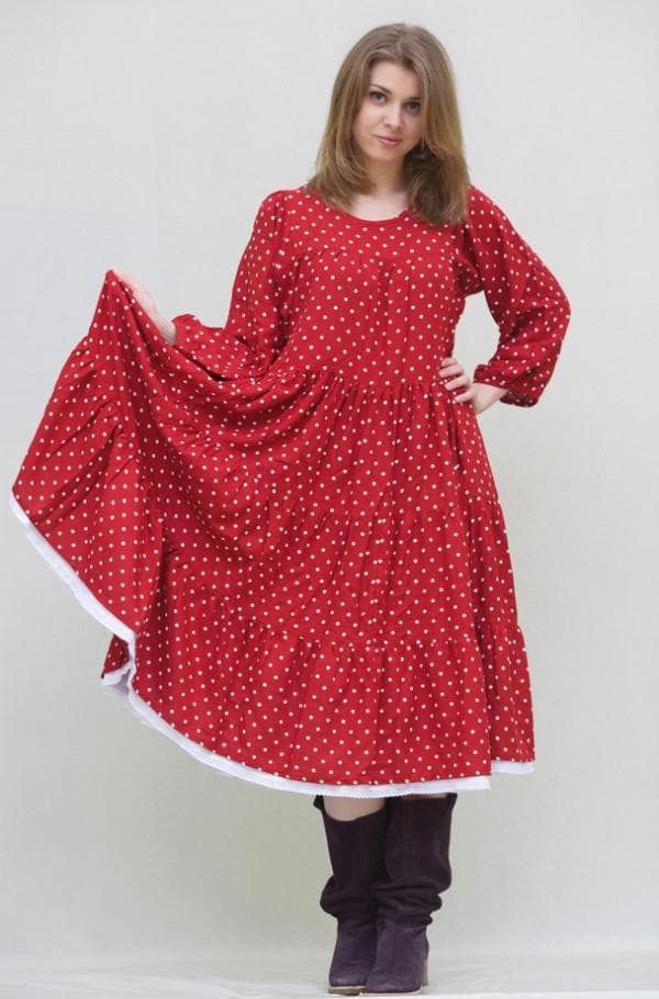 Платье в русском стиле в горох