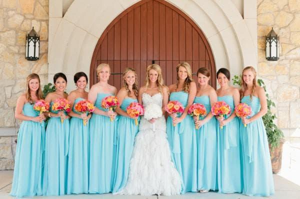 бирюзовые плтья в пол для подржек невесты