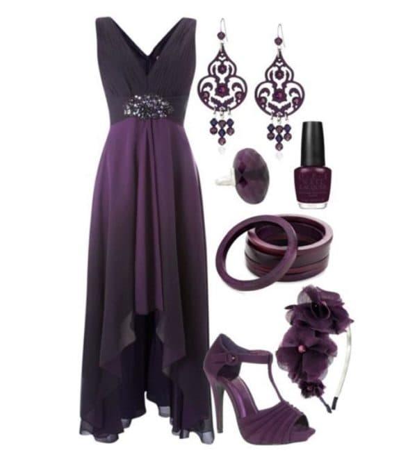 аксессуары для фиолетового платья