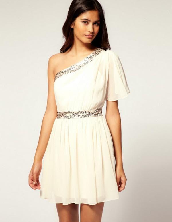 белое платье короткое в античном стиле