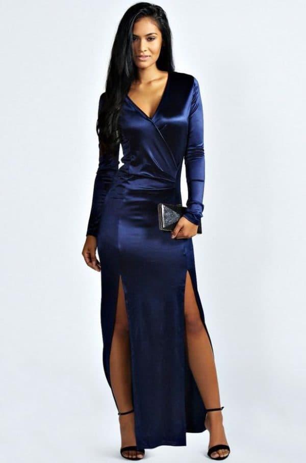 атласное синее платье в пол
