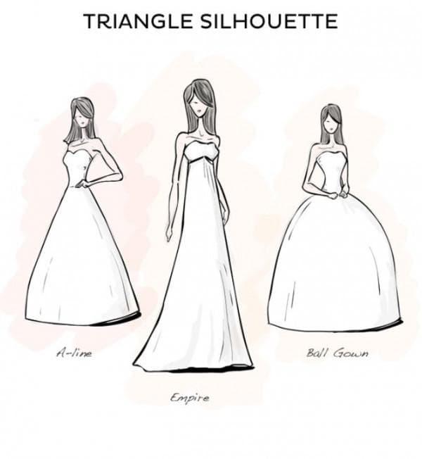 свадебные платья для женщин с фигурой треугольник