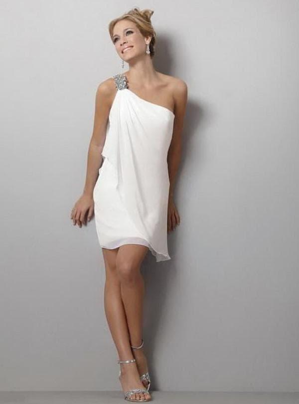 Мини платье белого цвета в стиле Афродиты
