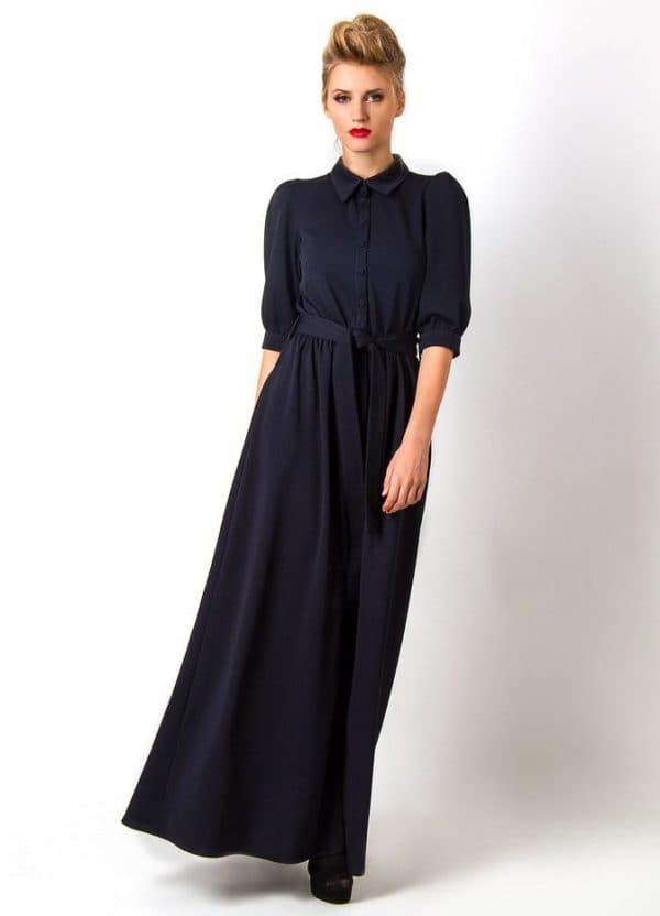 повседневное темно-синее платье длинное