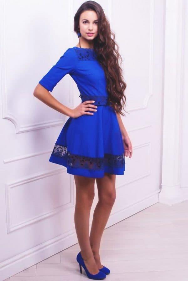 Синие туфли к синему платью