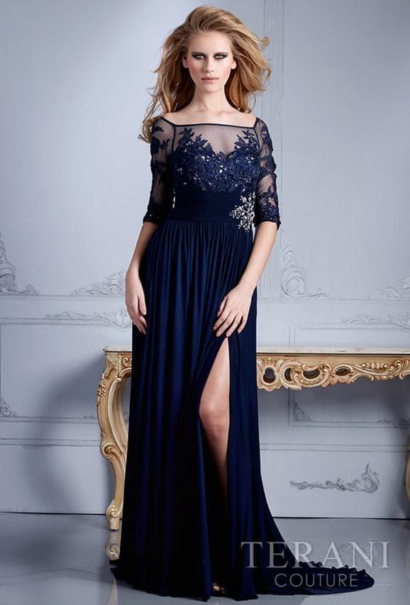 торжественное платье синего цвета для похода на свадьбу к подруге