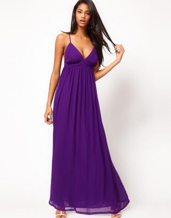 длинный фиолетовый сарафан