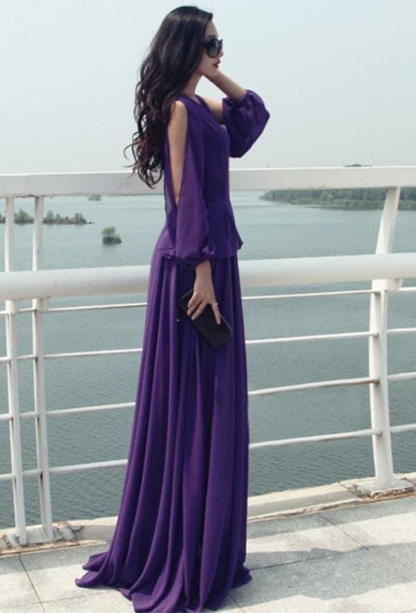 длинное фиолетовое платье