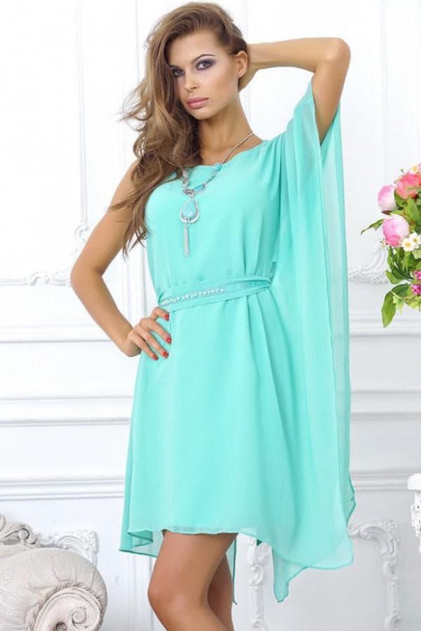 летнее платье короткое бирюзового цвета