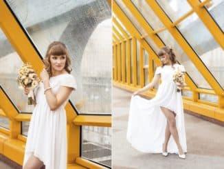 платье невесты короткое спереди длинное сзади