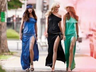 девушки в платьях с вырезом на бедре