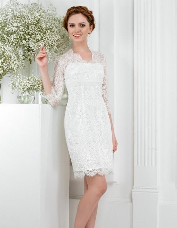 праямое платье с кружевом на свадьбу