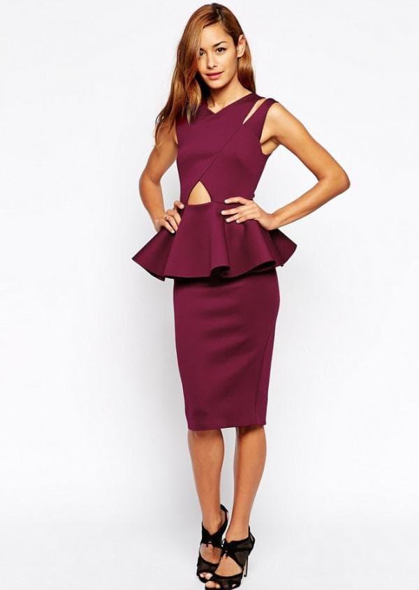 платье цвета марсала с баской