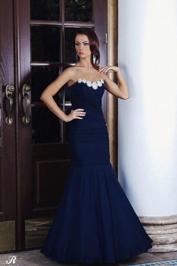 темно-синее платье рыбка