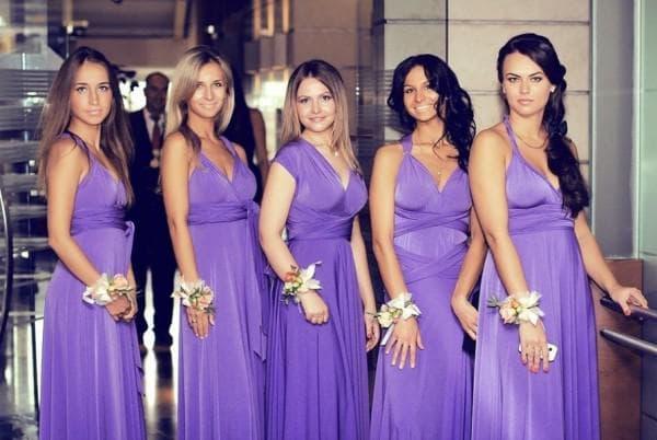 длинные платья на свадьбу подругам