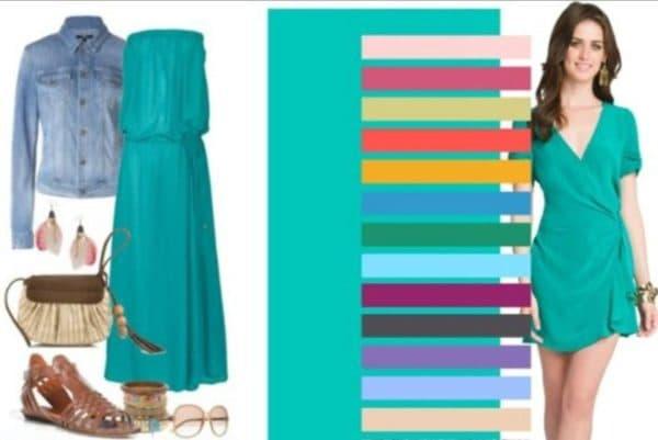 выбираем аксессуары под платье цвета тиффани