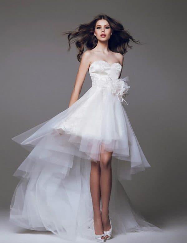 платье невесты удлиненное сзади