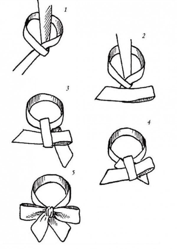 схема завязывания классического банта