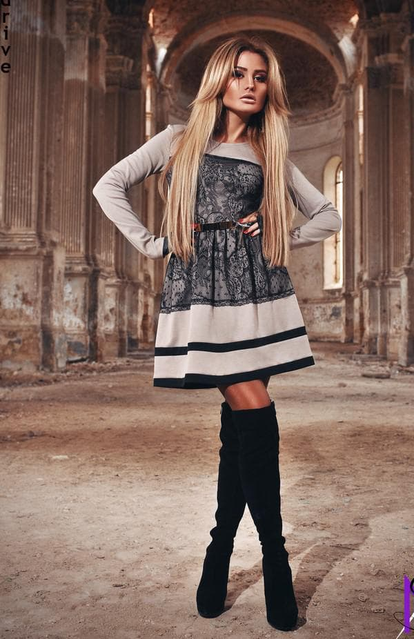 модный осенний образ с платьем французской длины