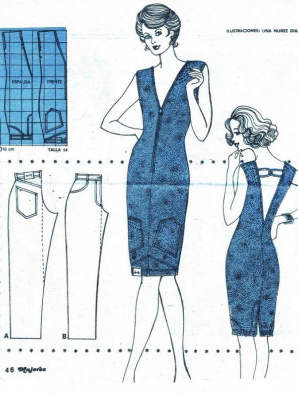 платье из старых джинс