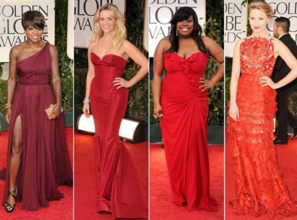 платья разных оттенков красного цвета