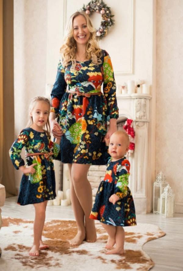 платья с одинаковым принтом для детей и взрослых
