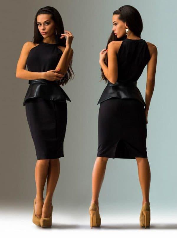 черное платье миди с баской