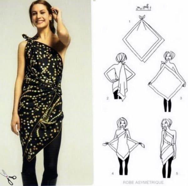 платье из большого платка