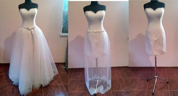 как удлинить свадебное платье