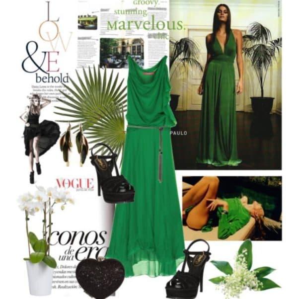 Какие аксессуары подойдут к зеленому платью