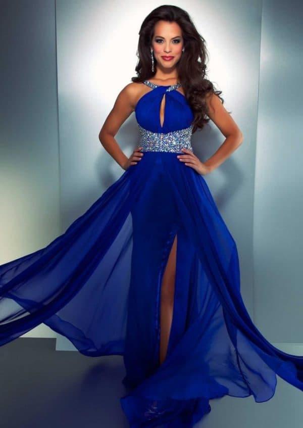 Синее вечернее платье в пол из шифона