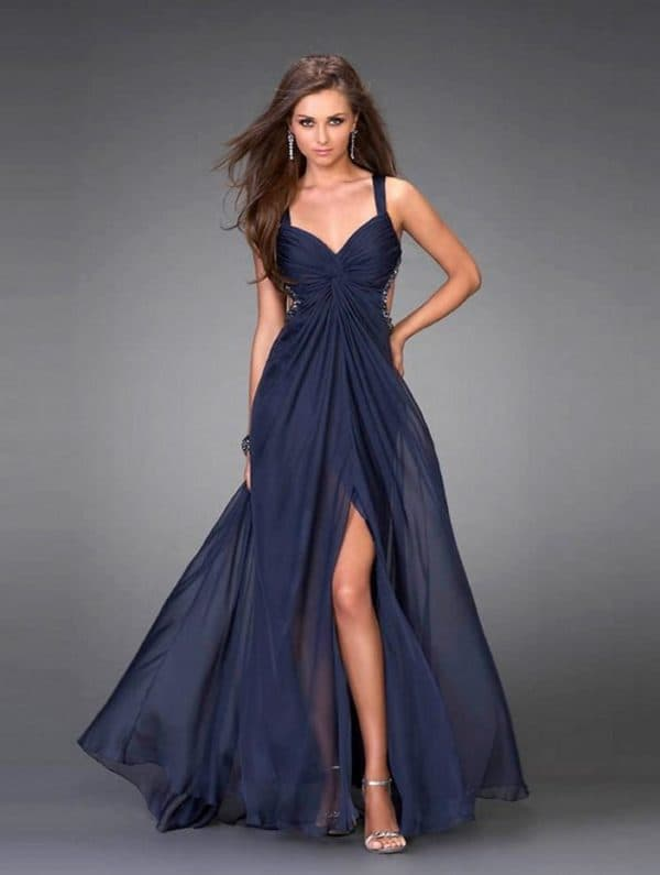 Длинное шифоновое платье для торжества