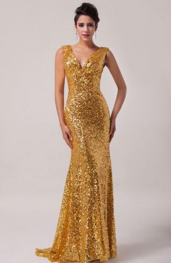 Золотой песок вечернее платье