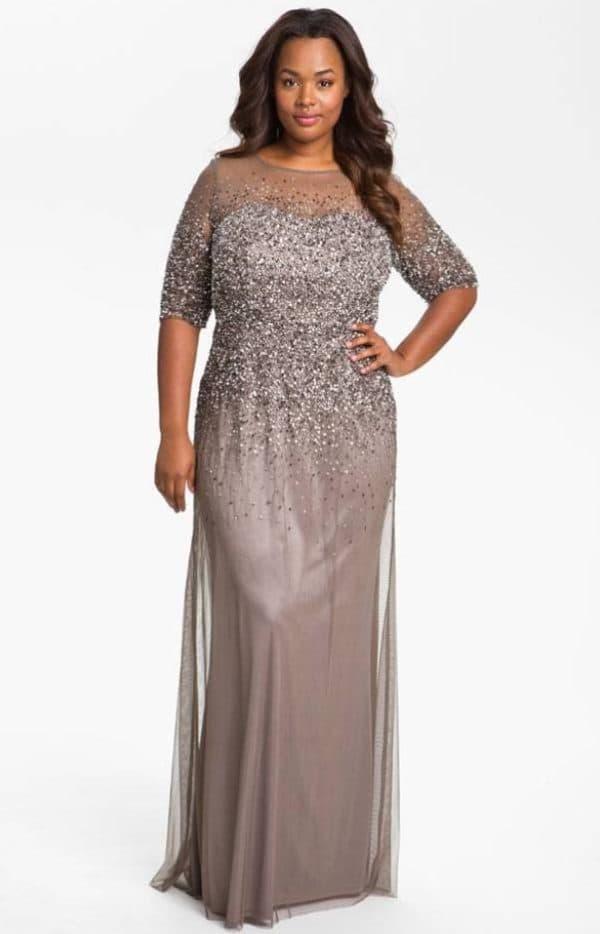Вечернее платье в пол из шифона большого размера