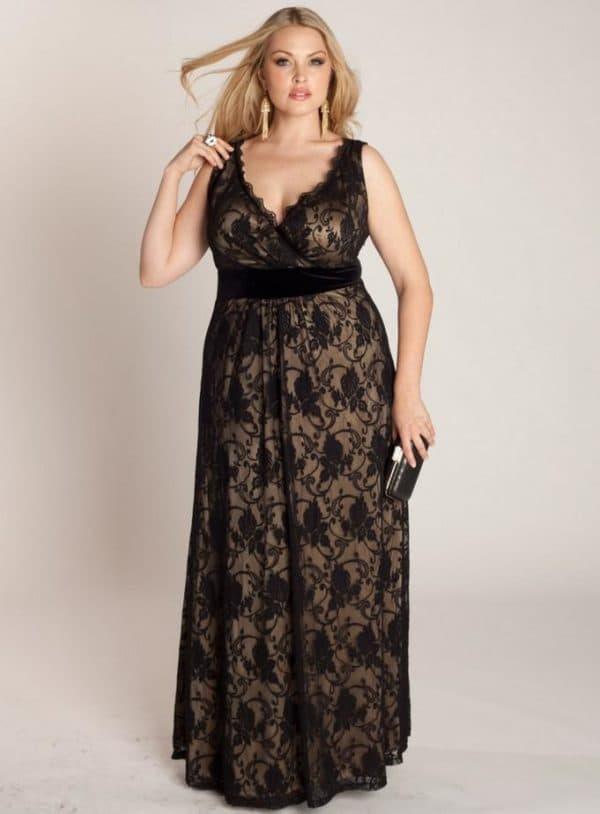 dlinnoe-platye-600x814 Гипюровые платья: удачные фасоны для полненьких девушек – Мода для полных