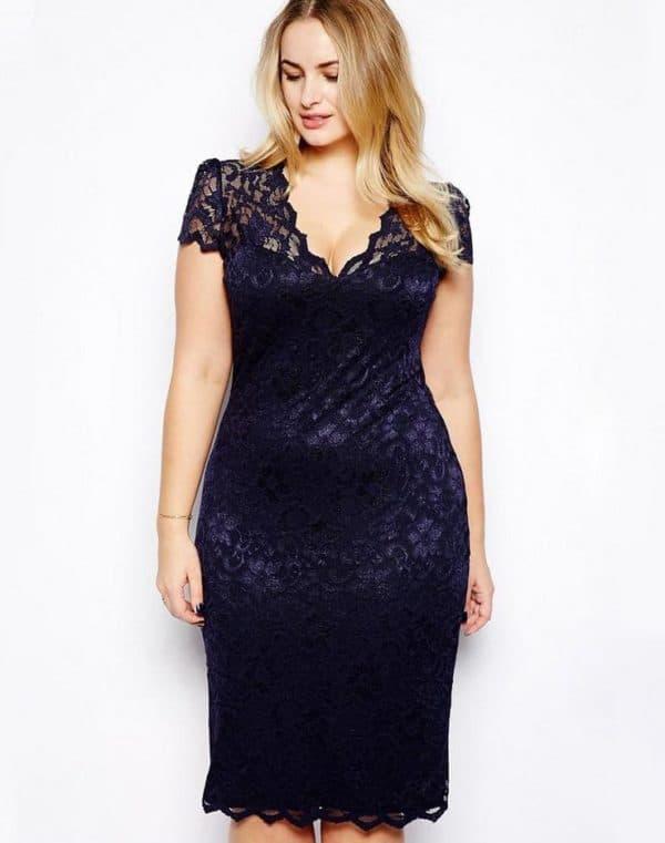 sinee-600x761 Гипюровые платья: удачные фасоны для полненьких девушек – Мода для полных