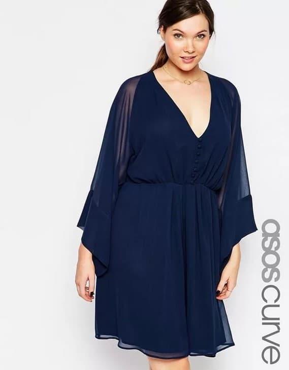 Синее платье-туника для полной девушки