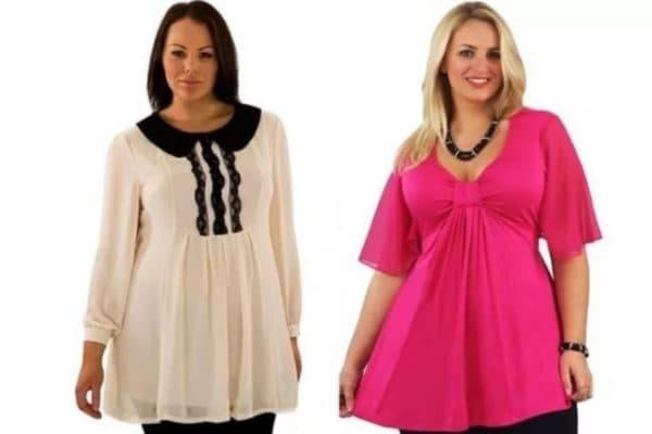 Короткие туники-платья для полных