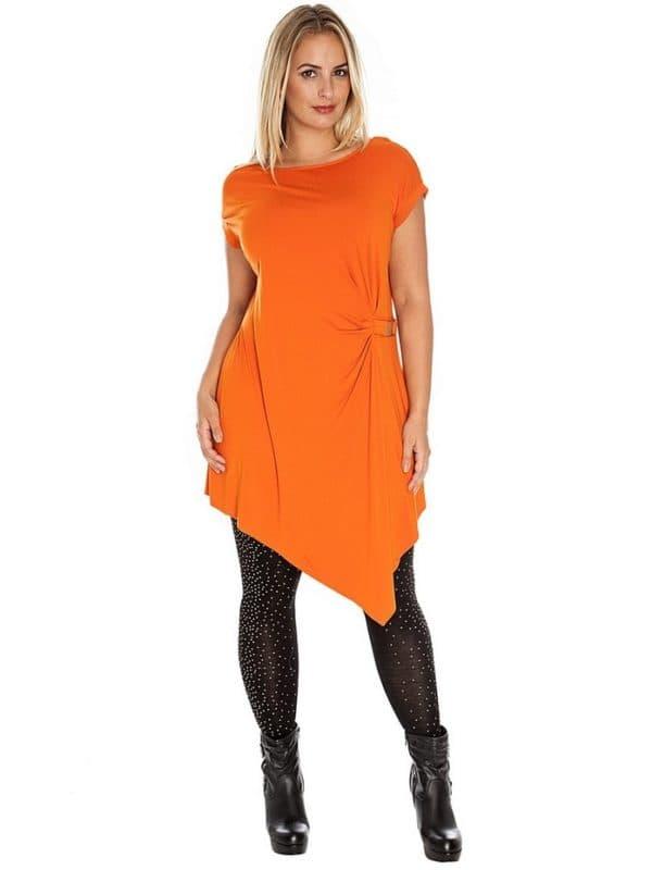 Оранжевое платье-туника для полных