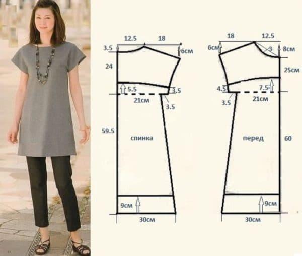 Выкройка платья-туника для самостоятельного пошива