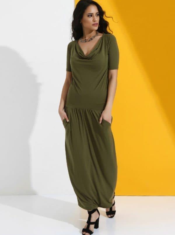Длинное платье цвета хаки от Anna Lui