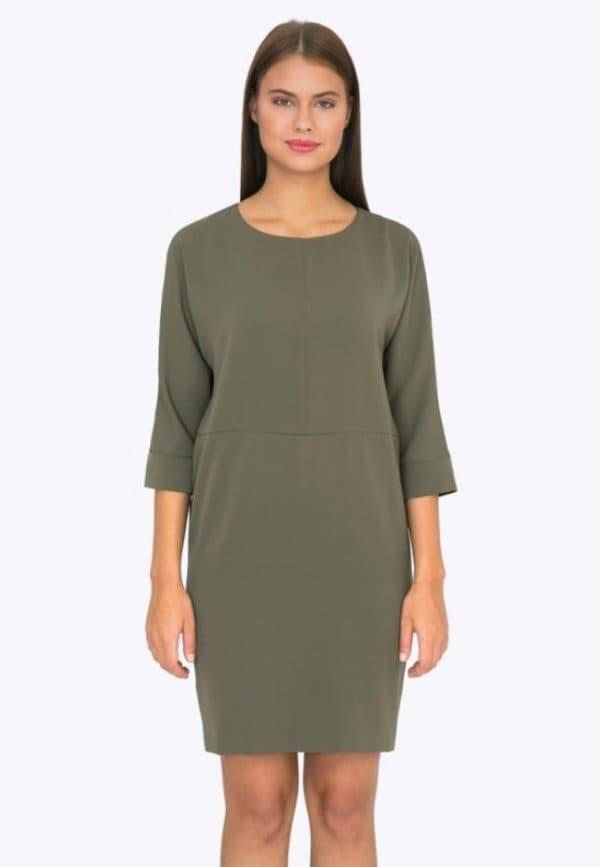 Платье цвета хаки для офиса