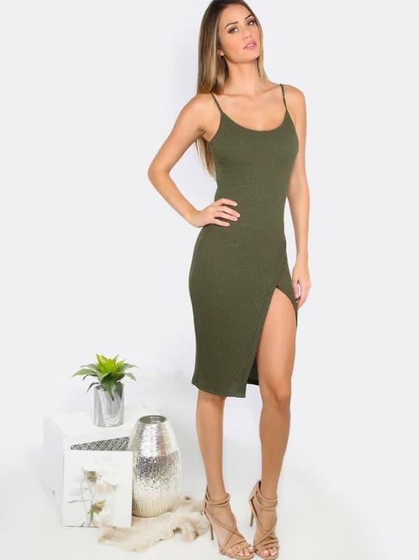 Платье-лапша цвета хаки