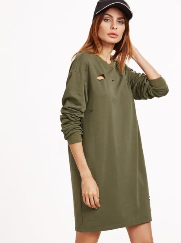 Платье-свитшот цвета хаки