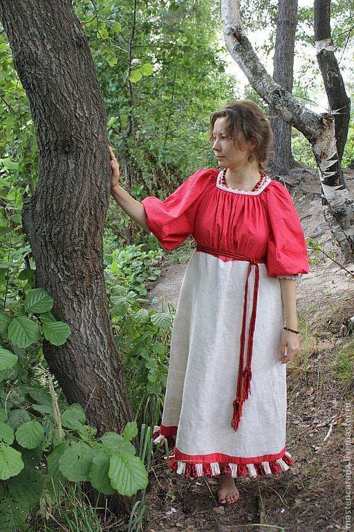 Платье в русском стиле их штапеля