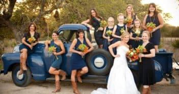 Платье невесты и ее подружек в рустикальном стиле