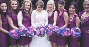 Фиолетовые платья для лучших подруг невесты